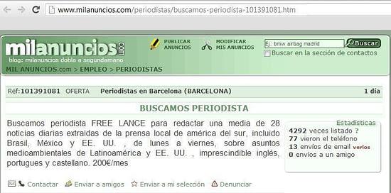 Oferta de trabajo freelance Milanuncios.com