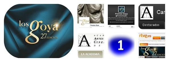 Montaje con los medios digitales en los que se podrá seguir los Premios Goya 2013