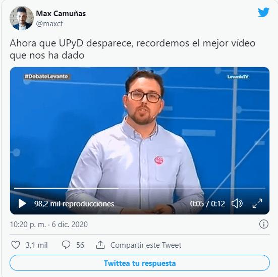 Captura tuit Max Camuñas sobre Toni Cantó